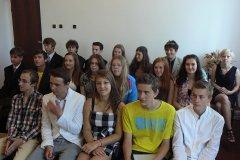 Přijetí vycházejících žáků u starosty Ob