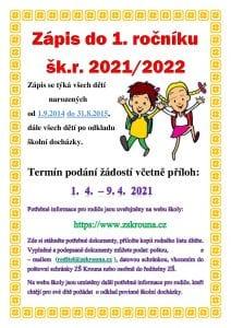 Plakát k zápisu do 1. třídy 2021/22