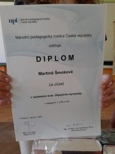 Úspěch Martiny Šmokové v celostátním kole dějepisné olympiády